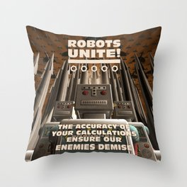 Robots Unite Throw Pillow