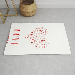 LOVE you! Watercolor Hearts. Valentine's Day Card Rug