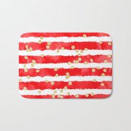 Modern red watercolor stripes gold confetti pattern Bath Mat