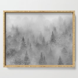 Foggy sunrise. BW. Pinsapos into the woods. Square Serving Tray