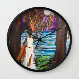 Woman of the Moon original painting by Barbara Sayre Wall Clock