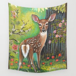 Flora and Fawn by Robynne Wall Tapestry