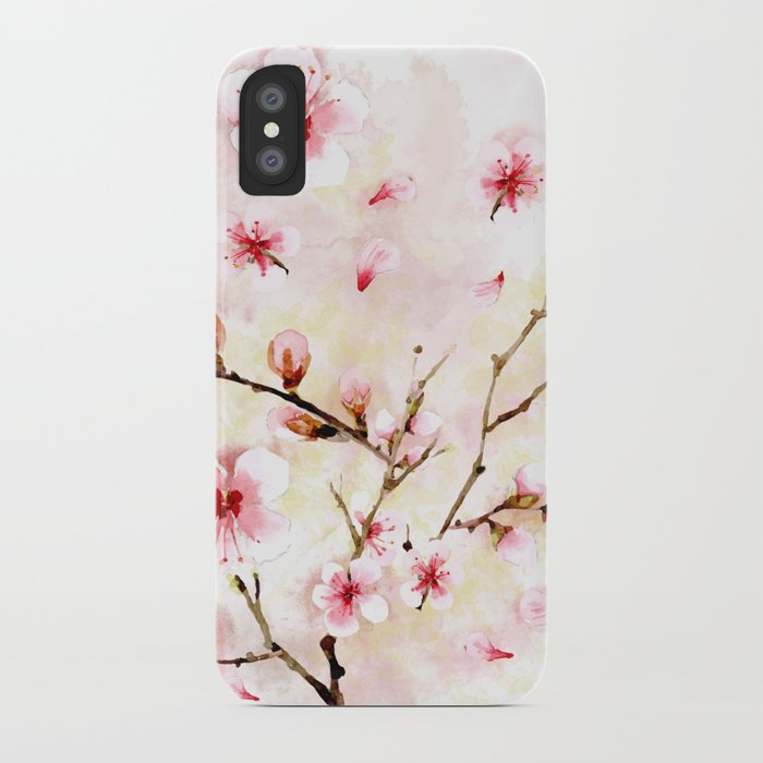 low priced 69b4a ebc40 Watercolor cherry blossom iPhone Case