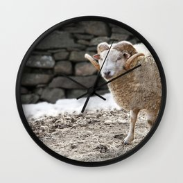 Aries, the Ram, in Winter Barnyard Wall Clock