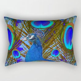 BLUE PEACOCK EYE FEATHERS ART Rectangular Pillow