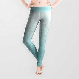 Modern chic teal pastel gradient faux glitter Leggings