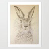 hare Art Prints featuring Hare by Lyubov Fonareva