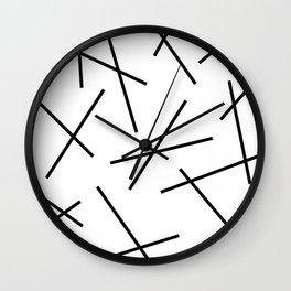 Black and white mikado stripes dash pattern Wall Clock