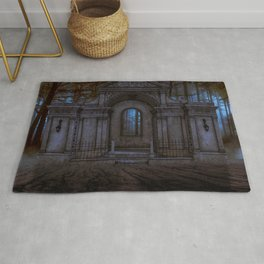 Gothic building in a dark forest Rug