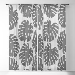 Monstera Black & White III Sheer Curtain