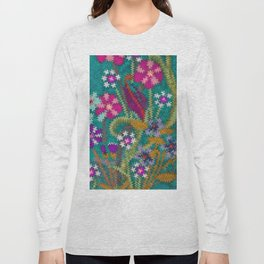Starry Floral Felted Wool, Turquoise and Pink Long Sleeve T-shirt