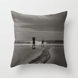 Beach black white light Throw Pillow