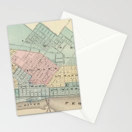 Vintage Map of Peoria IL (1876) Stationery Cards