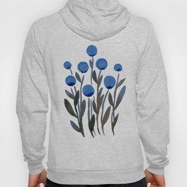 Simple watercolor flowers - midnight blue Hoody