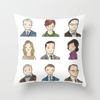 mad men Throw Pillows featuring Mad Men by Steven Learmonth