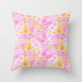 Pastel Patchwork Flower Garden, Soft Lavender, Lilac Purple and Pink Floral Quilt Repeat Pattern Throw Pillow