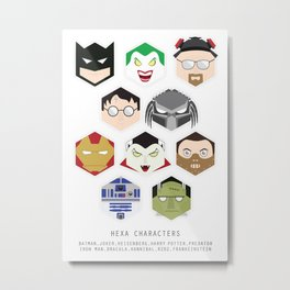 Hexa Characters Metal Print