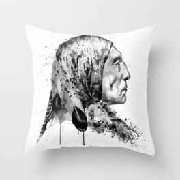 Native American Side Face Black and White Throw Pillow