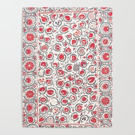 Wildflower I // 18th Century Positive Happy Colorful Red Green Botanical Garden Flowery Pattern Poster