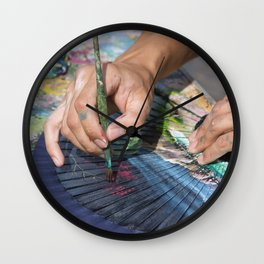 A street artist painting a colorful fan | Rome, Italy | Color Photography | Travel & Street Photography | Photo Print | Art Print Wall Clock