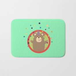 Party Bear with Spots in cirlce Bath Mat