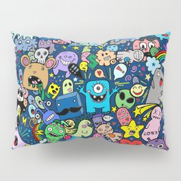 Doodle Monsters Party Night Pillow Sham
