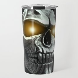 Skull with glowing yellow eyes Travel Mug