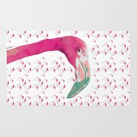 flamingo Area & Throw Rugs featuring Flamingo by la belette rose