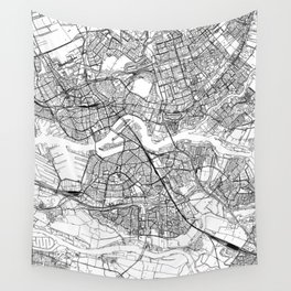 Rotterdam White Map Wall Tapestry