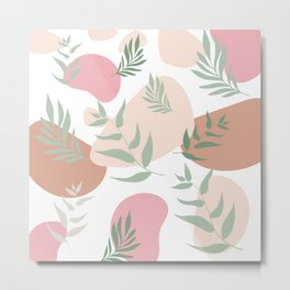Abstract Shapes Floral With Trendy Colors Pattern Metal Print