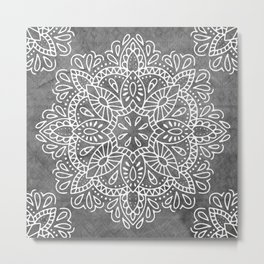 Mandala Vintage White on Ocean Fog Gray Metal Print