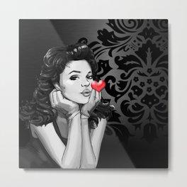 Retro Pinup Girl Blowing a Heart Kiss Metal Print