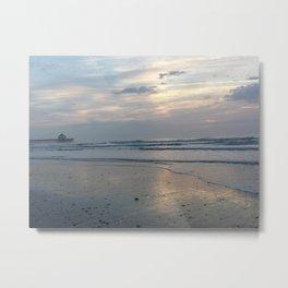 Folly Beach silver sunrise Metal Print