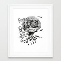 fear and loathing Framed Art Prints featuring Fear & Loathing by Saravo Studio