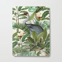 Tropical Heron Bird Rainforest Illustration Metal Print