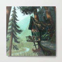 River Cabin Metal Print