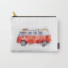 Camper Bus - retro camping van painting / illustration Carry-All Pouch