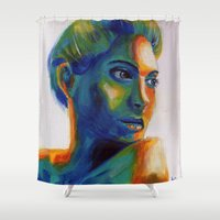 angelina jolie Shower Curtains featuring Angelina by ArtLm