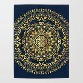 Blue & Gold Boho Pattern Poster