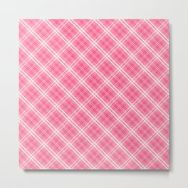 Midi Pink Valentine Sweetheart Tartan Plaid Check Metal Print