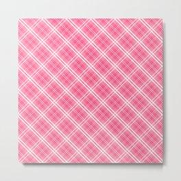Midi Pink Valentine Sweetheart Tartan Plaid Check Metal Print