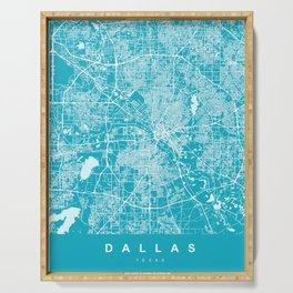 Dallas Map - Texas | Blue & Cyan | More Colors, Review My Collections Art Print Art Print Serving Tray