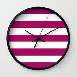 Jazzberry jam -  solid color - white stripes pattern Wall Clock