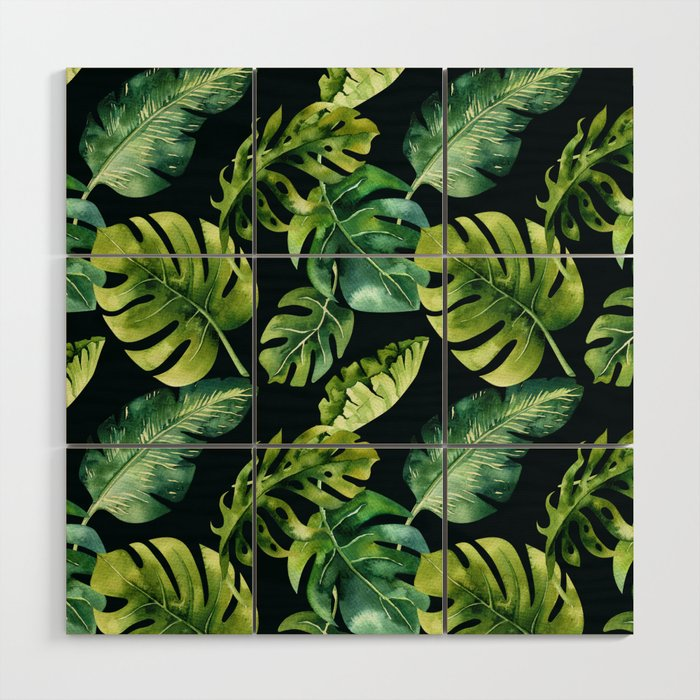 Watercolor Botanical Tropical Palm Leaves on Solid Black Background Wood Wall Art