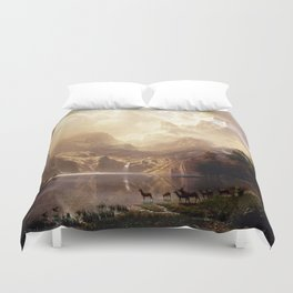 Albert Bierstadt - Among the Sierra Nevada, California Duvet Cover