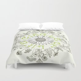 Circle Of Life Mandala With Hand Drawn Flowers Duvet Cover