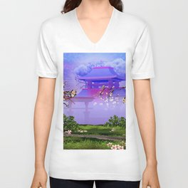 Cherry tree blossom in front of the temple Unisex V-Neck