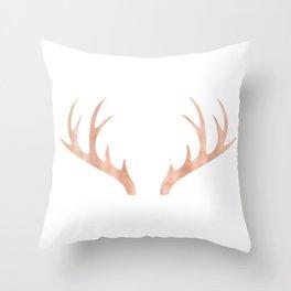 Antlers Rose Gold Deer Antlers Throw Pillow
