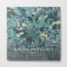 Aix-en-Provence, France - Cream Blue Metal Print
