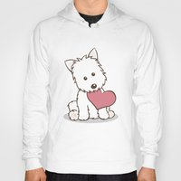 westie Hoodies featuring Westie Dog with Love Illustration by Li Kim Goh